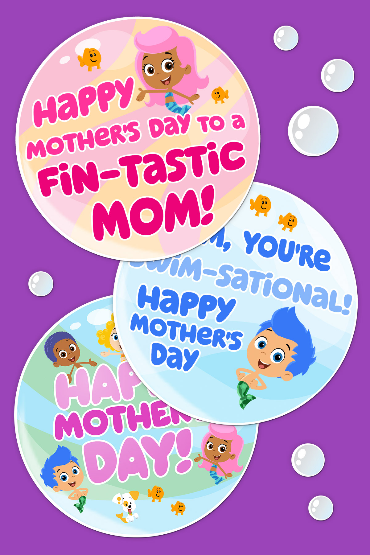 Bubble Guppies Printable Mother's Day Cards