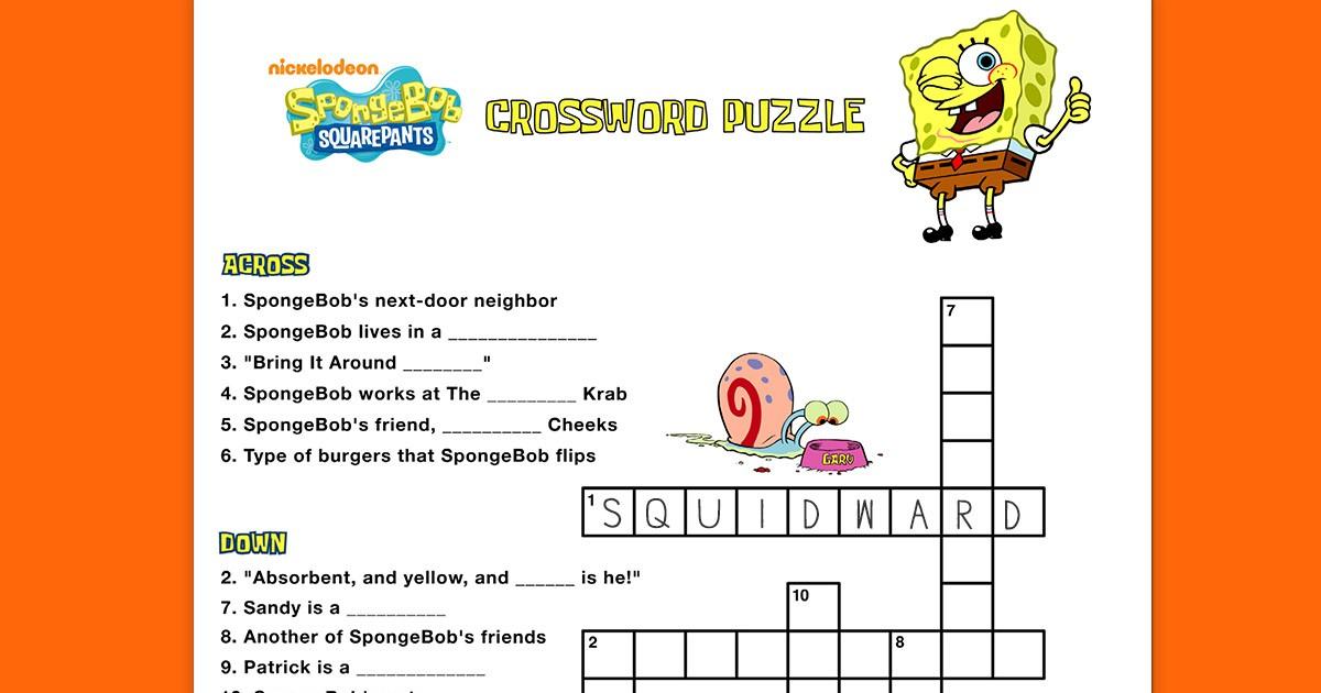 Spongebob Crossword Puzzle Nickelodeon Parents