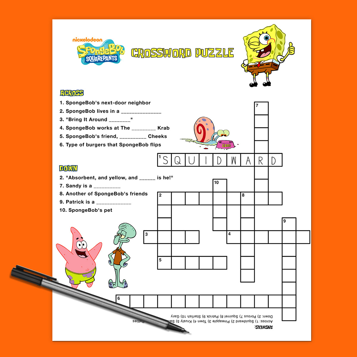 SpongeBob Crossword Puzzle
