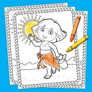 Dora Summertime Coloring