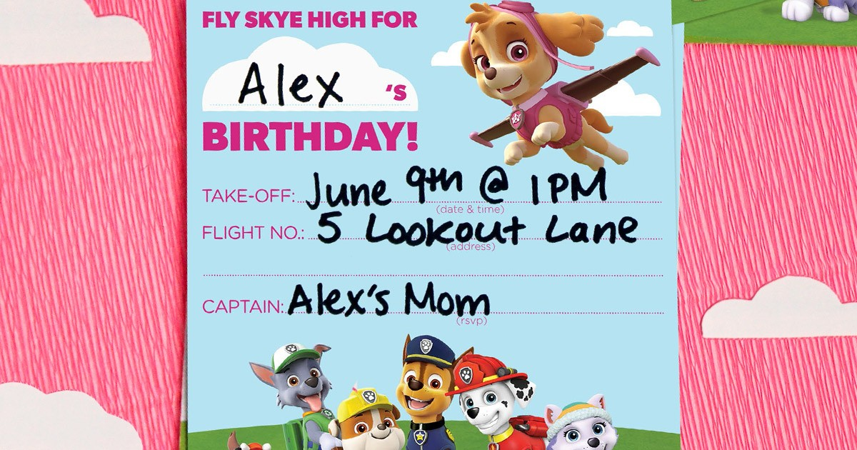 image about Free Printable Paw Patrol Birthday Invitations identify PAW Patrol Skye Birthday Get together Invites Nickelodeon Dad and mom
