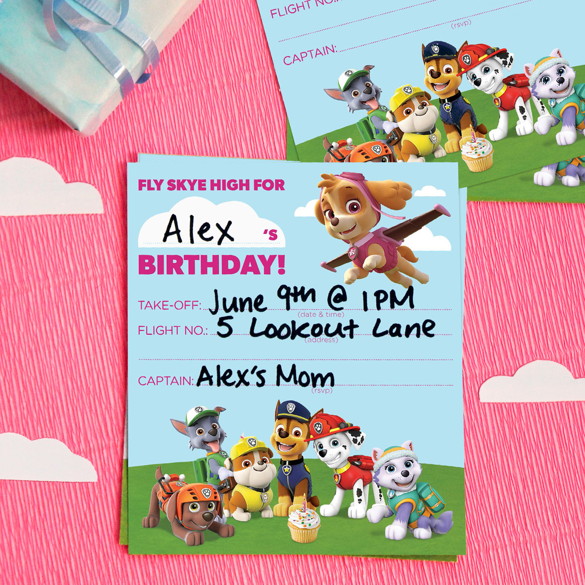 SaveSave To Pinterest PAW Patrol Skye Birthday Party Invitations