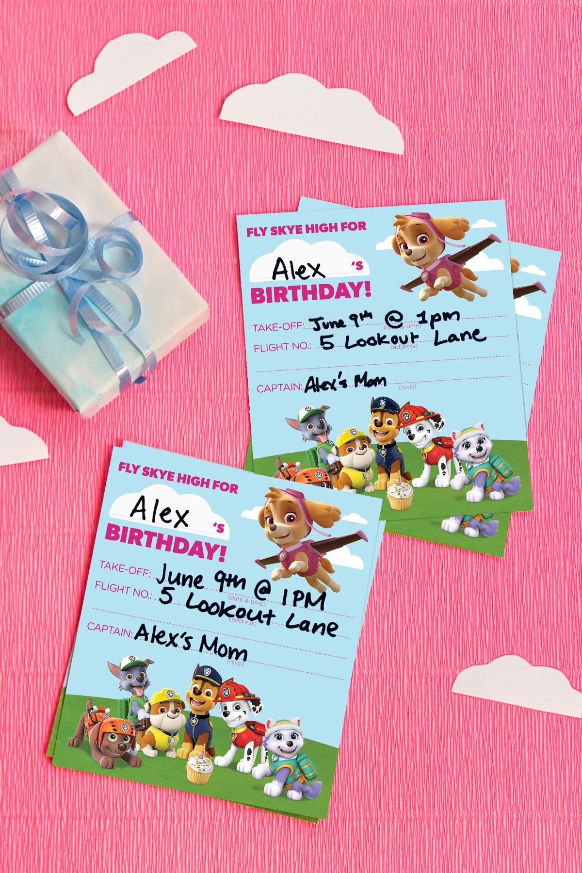 picture about Paw Patrol Invitations Printable identify PAW Patrol Skye Birthday Social gathering Invites Nickelodeon Mother and father