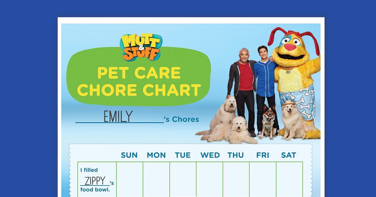 Mutt Amp Stuff First Pet Chore Chart Nickelodeon Parents
