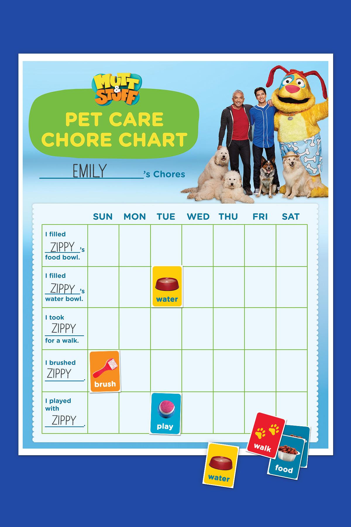 Mutt & Stuff First Pet Chore Chart