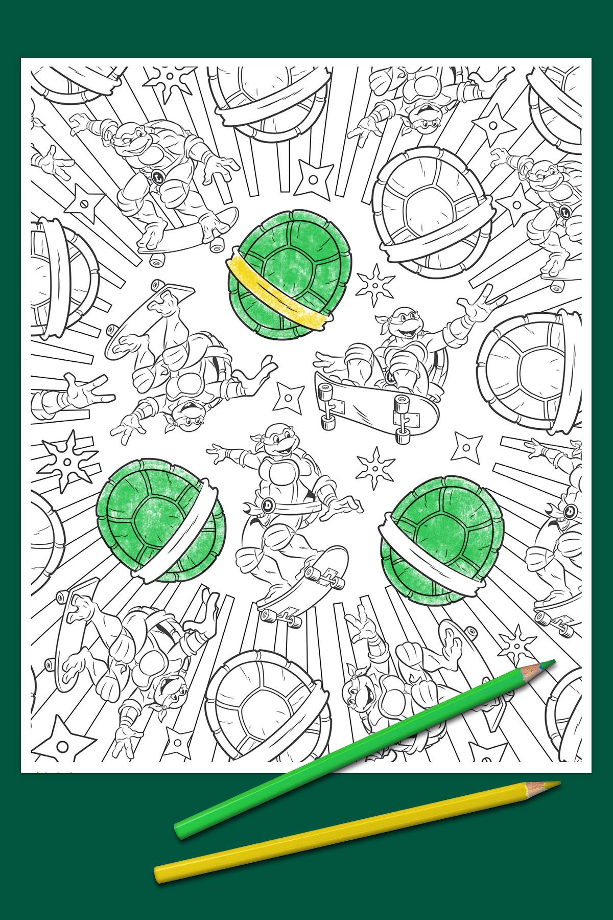 Ninja-Turtles-Art-Coloring-Page | Turtle coloring pages, Ninja ... | 1800x1200