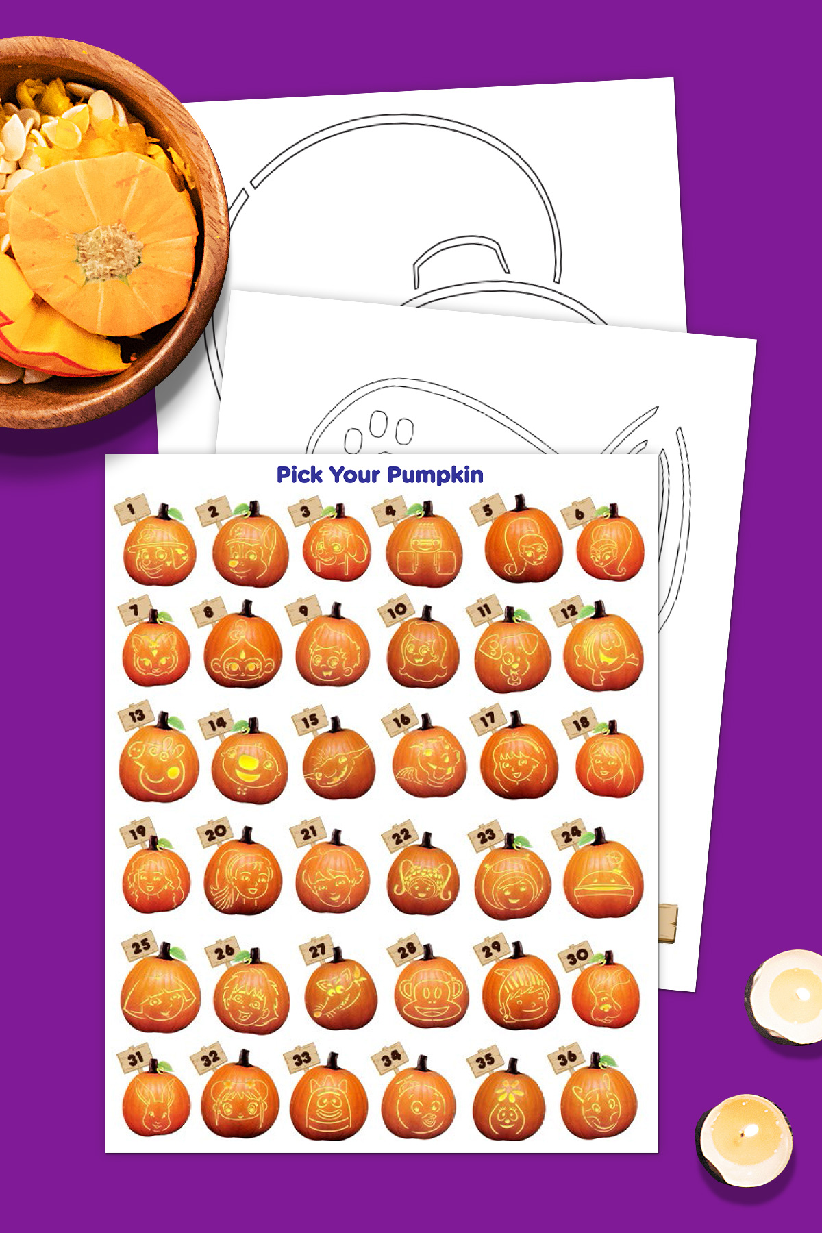 Print These Halloween Pumpkin Stencils Featuring Over 40 Of Your Favorite Nick Jr Friends And Get Carving