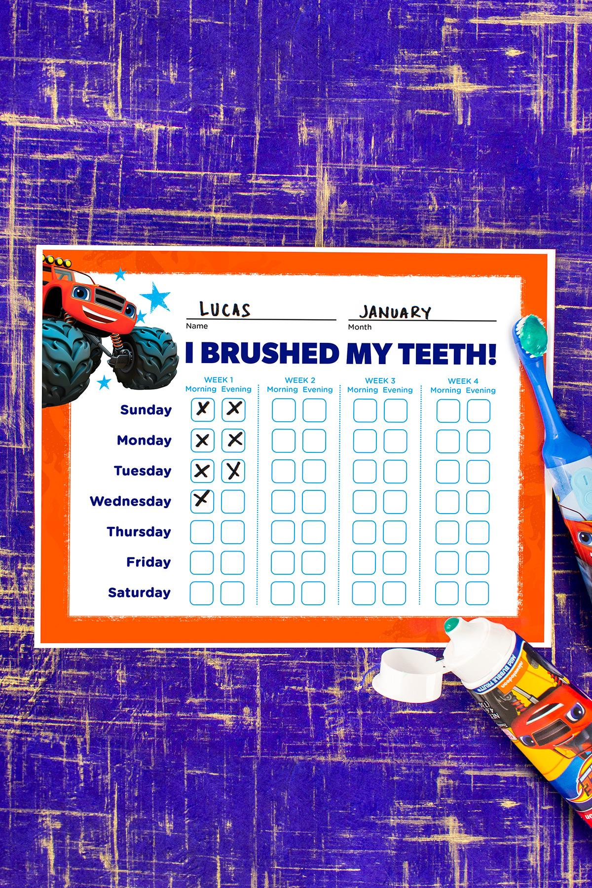 Blaze Teethbrushing Chart