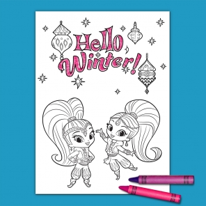 Shimmer and Shine Winter Coloring Page