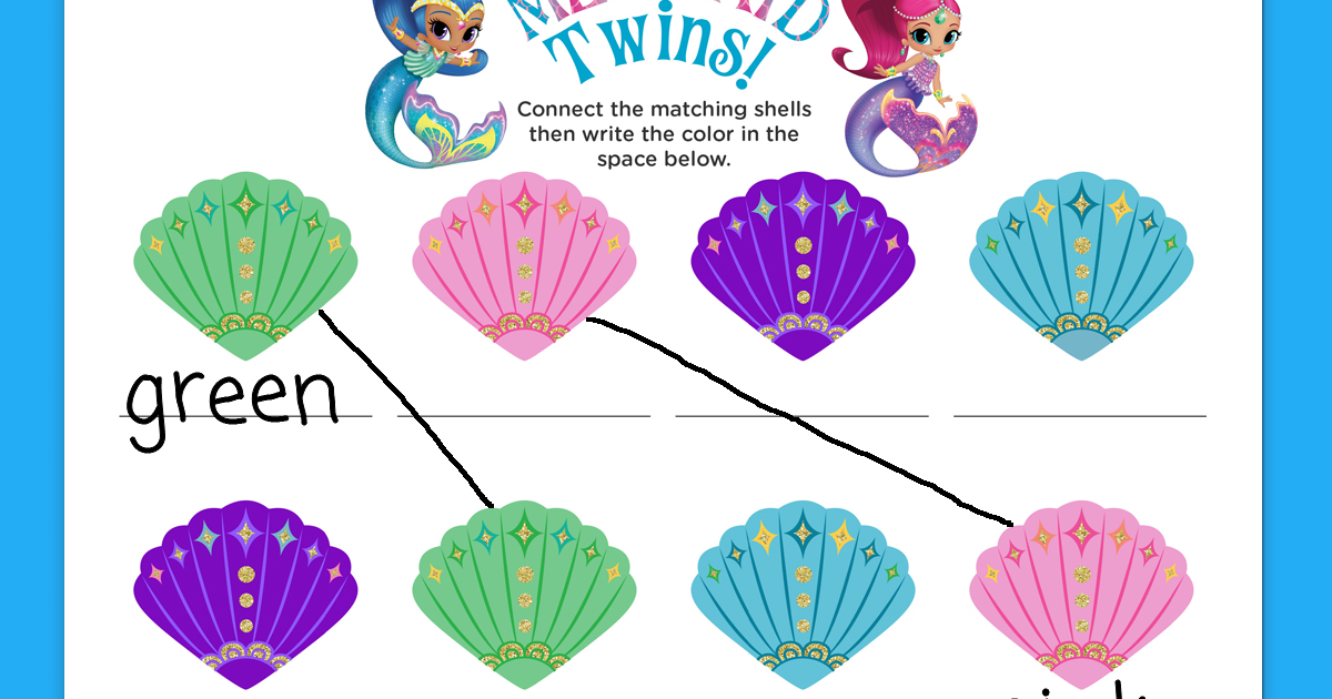 Shimmer And Shine Mermaid Activity Sheet Nickelodeon Parents