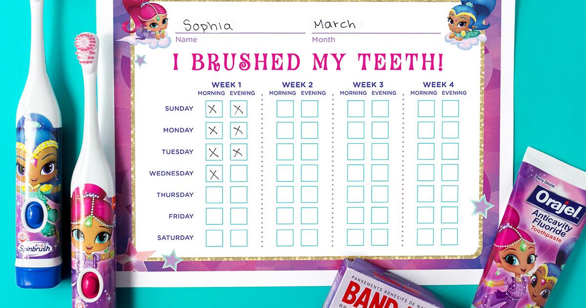 Shimmer And Shine Teeth Brushing Chart Nickelodeon Parents