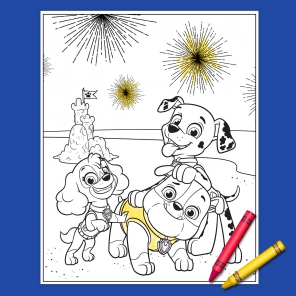 Your PAW Patrol 4th of July Coloring Page!