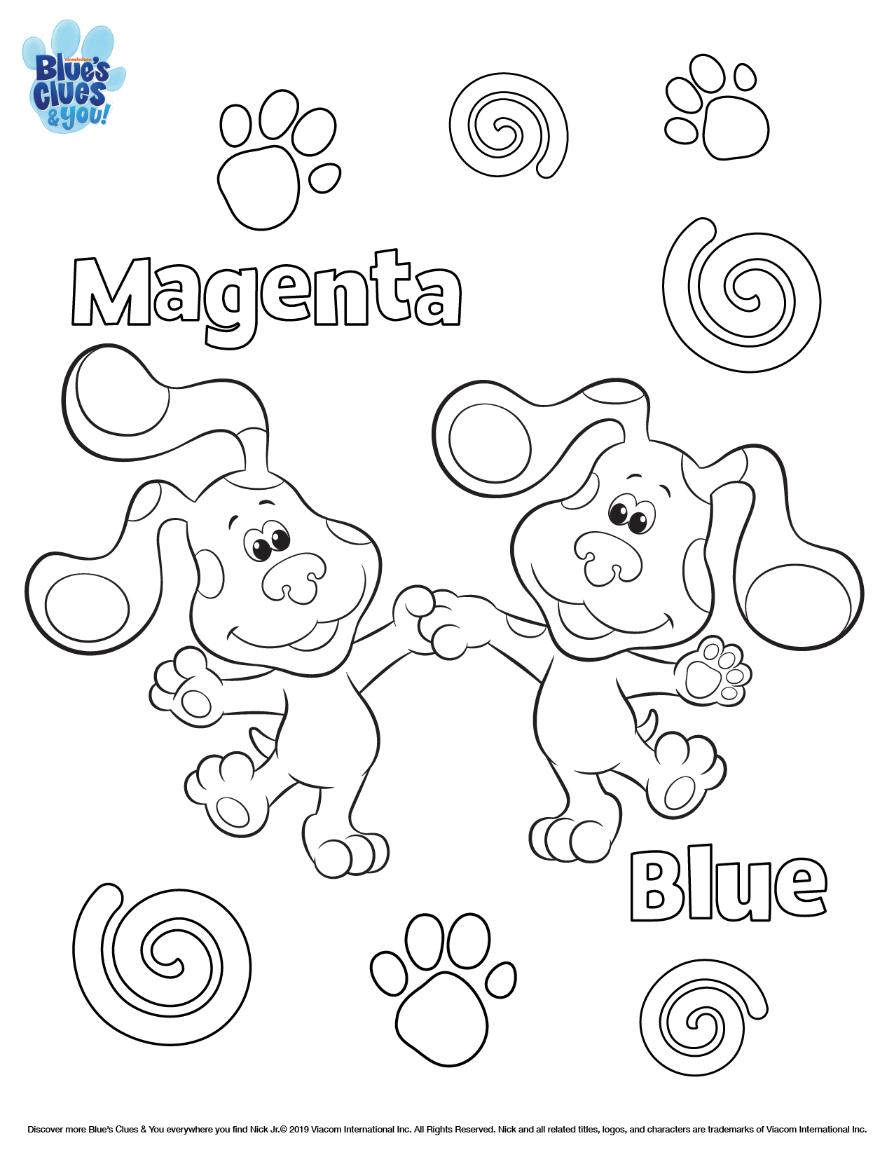 Blue S Clues Amp You Printable Coloring Page Nickelodeon