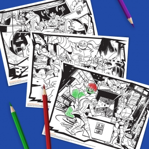 Teenage Mutant Ninja Turtles TMNT Coloring Pages free Printable ... | 296x296