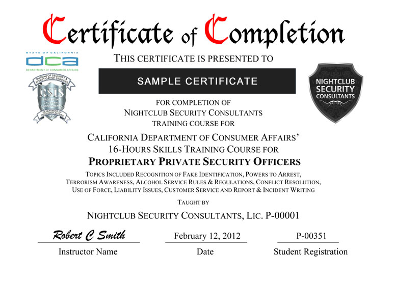 Certificate delivery nightclub security consultants certificate sample yelopaper Image collections