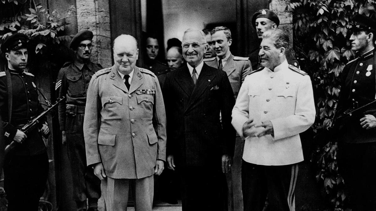 Photo of Churchill, Truman, and Stalin at the Yalta Confernece, 1945
