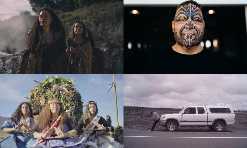 Film Stills from Hinekura, Tā Moko, Standing Above the Clouds, and Ka Piko