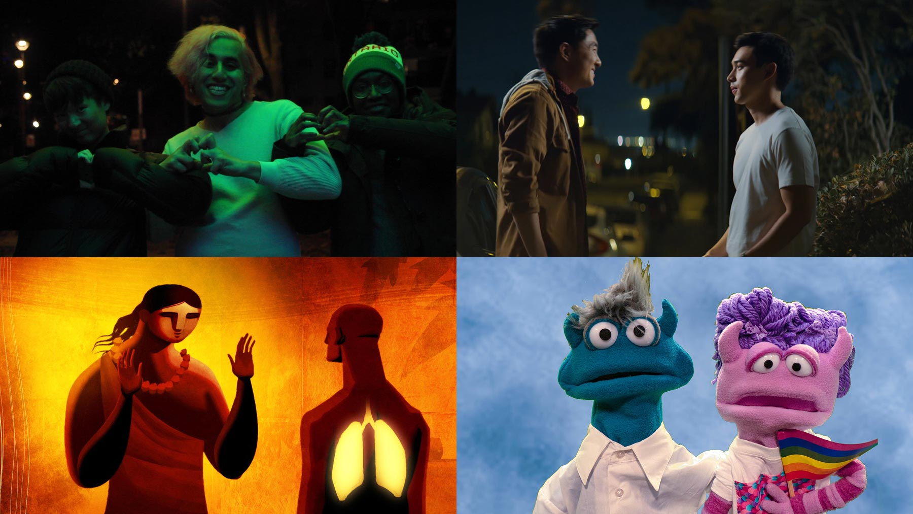 Film Stills from Gay as in Happy, Blue Suit, Kapaemahu, and Parental Guidance Suggested