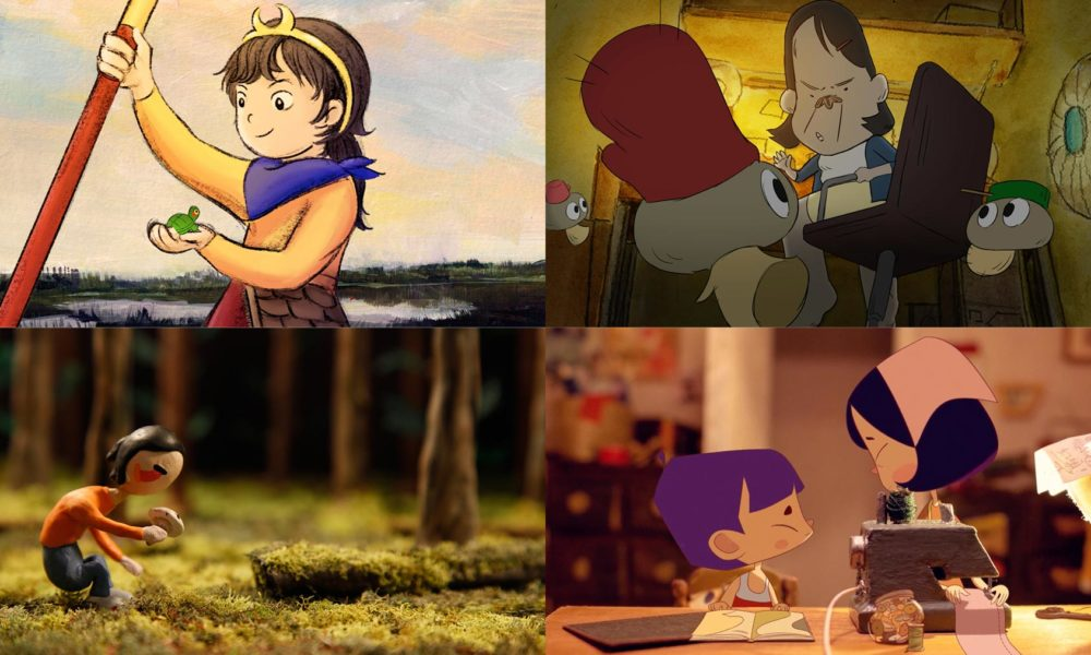 Film Stills from Yuan Yuan and the Hollow Monster, The Kitchlets, In the Shadows of the Pines, and Felt Love