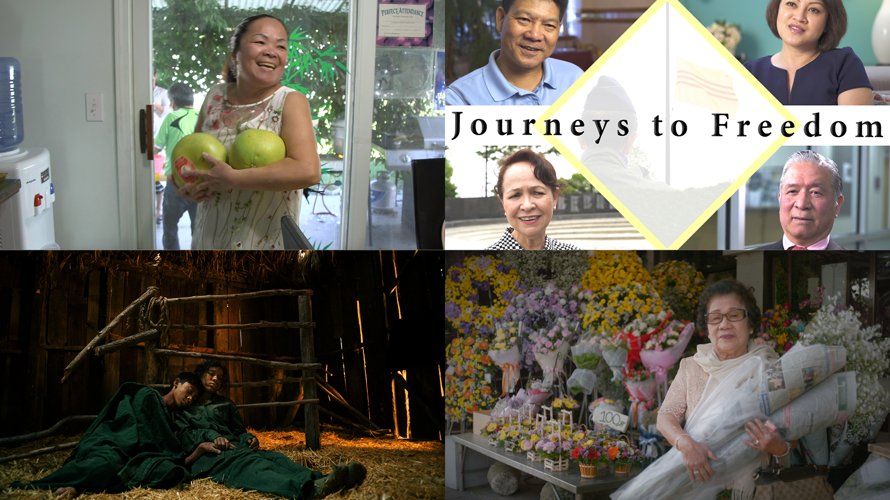 Film Stills from Mama Yen, Journeys to Freedom, In this Land We're Briefly Ghosts, and Yai Nin