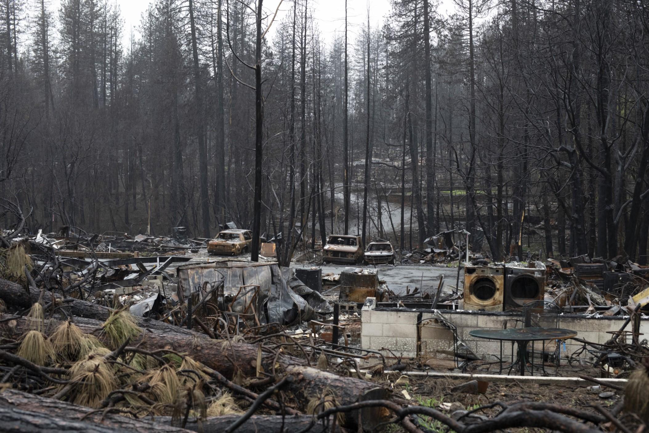 remnants of neighborhood after fire