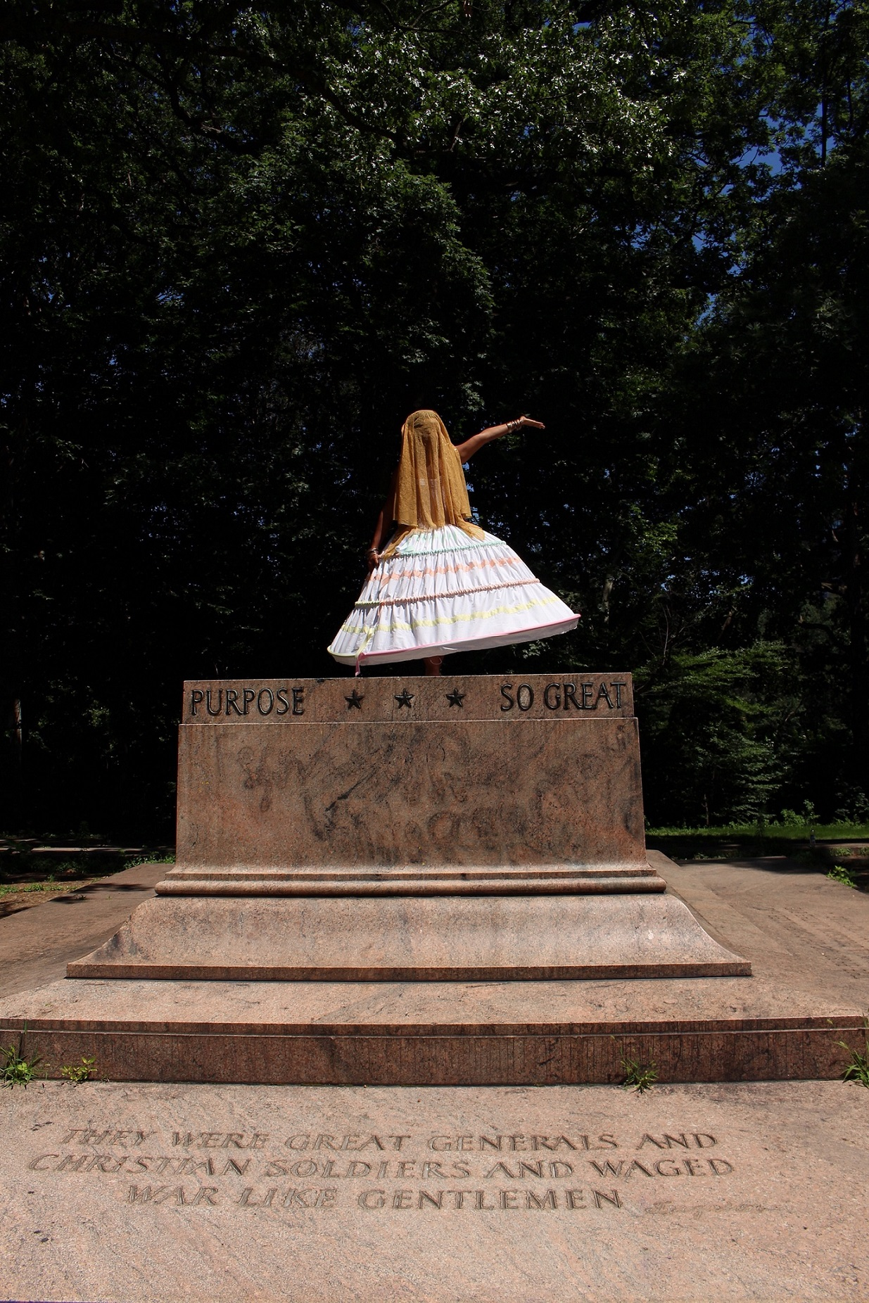 a woman standing on top of a platform