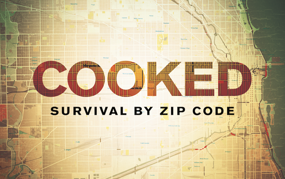 "The words ""COOKED, SURVIVAL BY ZIP CODE"" pasted on top of a city map of Chicago."