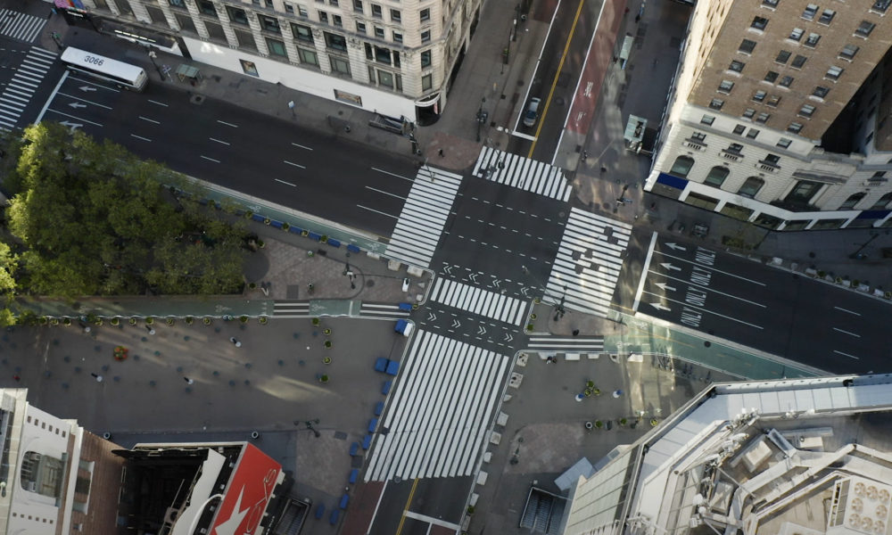 empty crosstreets in New York