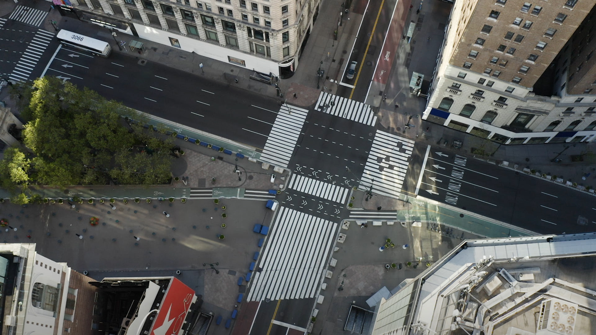 empty crosstreets in New York