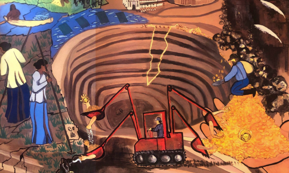 Illustration of a machine excavating from a large hole in the earth, som epeople gather around the rim