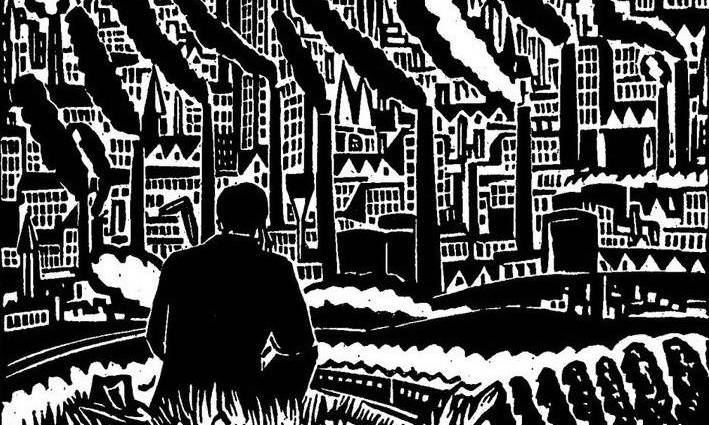 woodcut piece of a man sitting on a hill looking out at a city full of smoke stacks