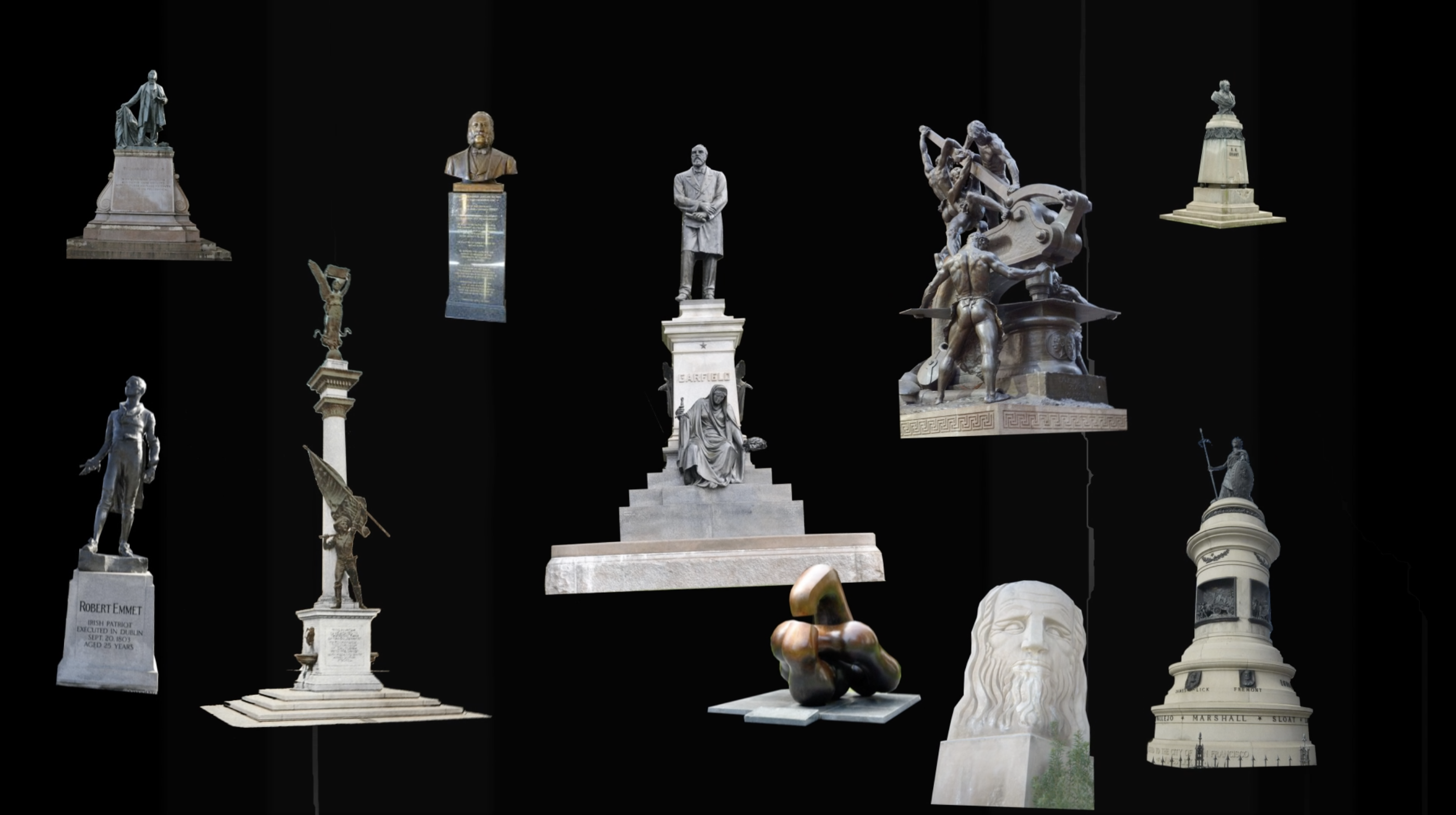 a collage of classical-looking monuments in front of a black background