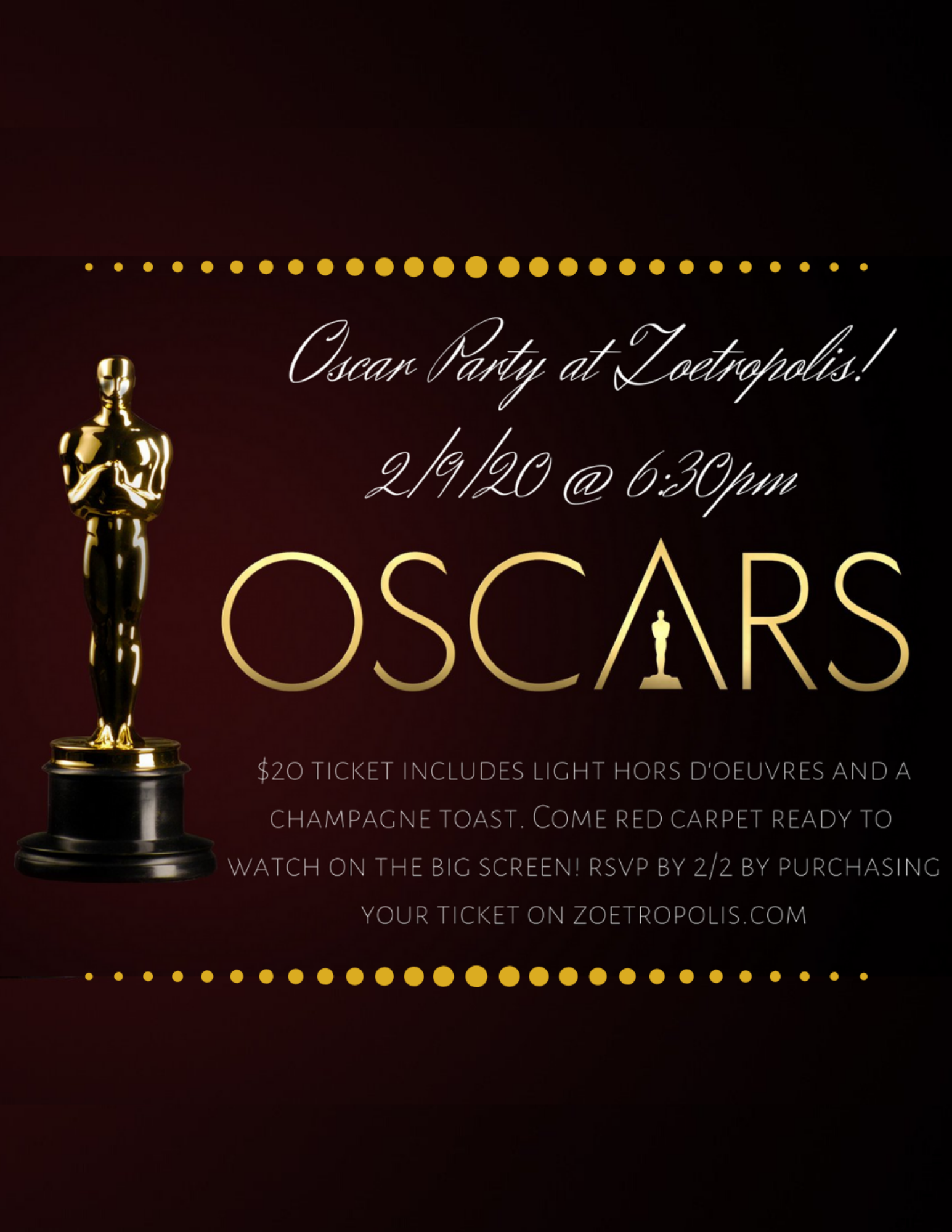 Poster for 2020 Oscar Party