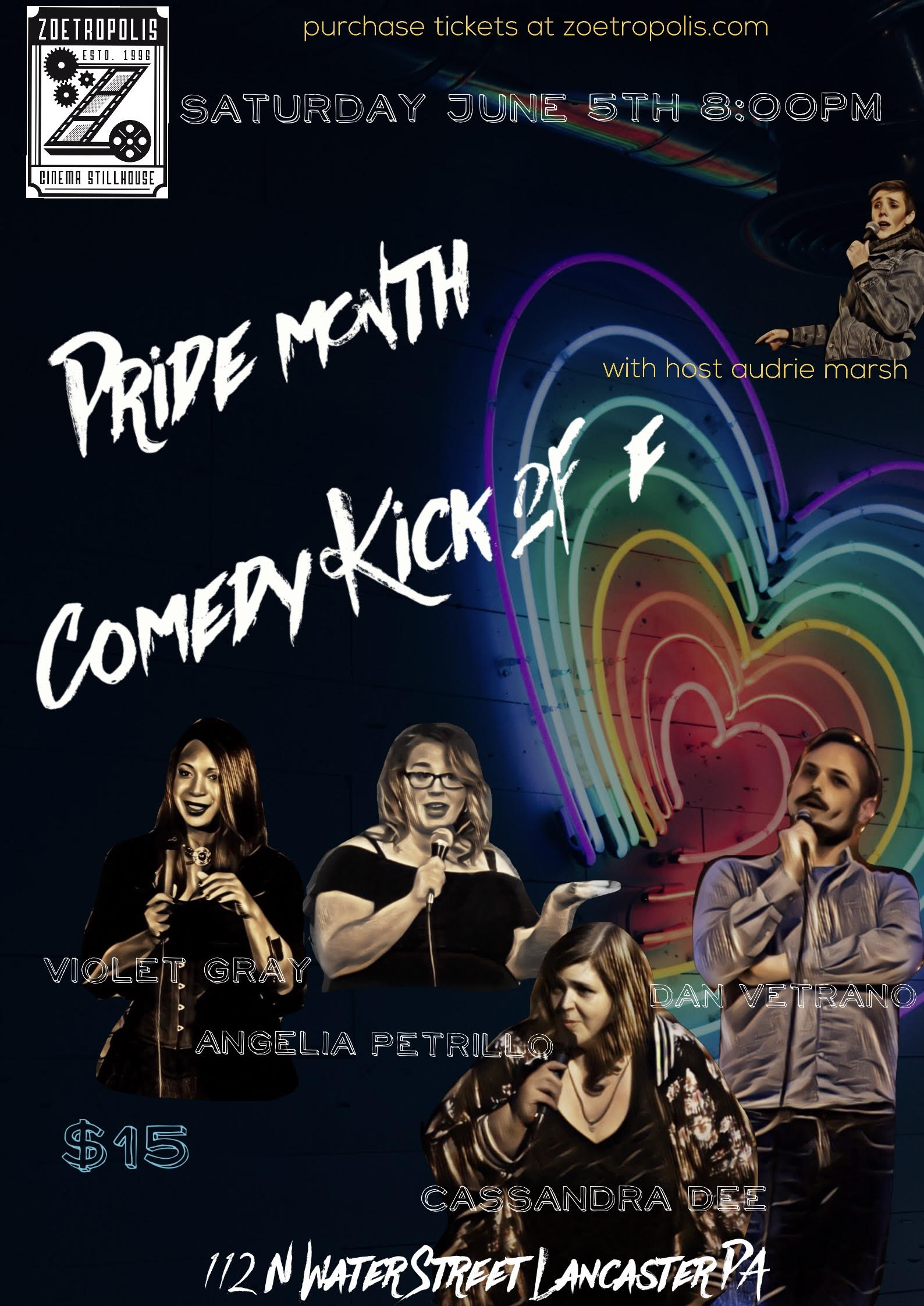 Poster for Pride Month Comedy Kick Off