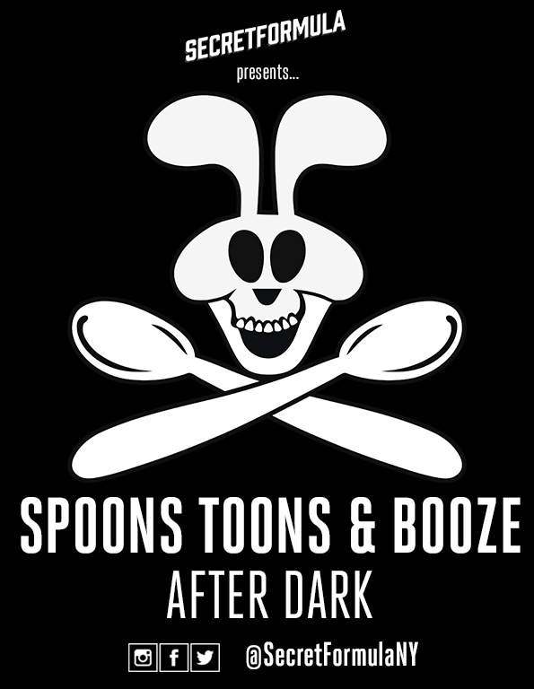 Poster for Spoons, Toons & Booze After Dark (March)
