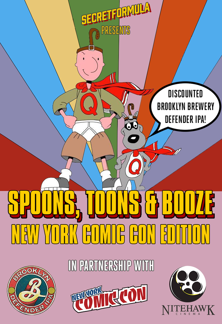 Poster for Spoons, Toons & Booze New York Comic Con Edition