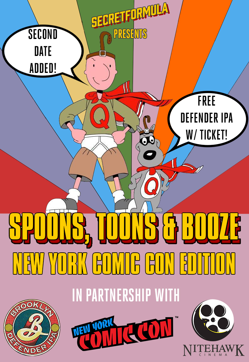 Poster for Spoons, Toons and Booze New York Comic Con Edition