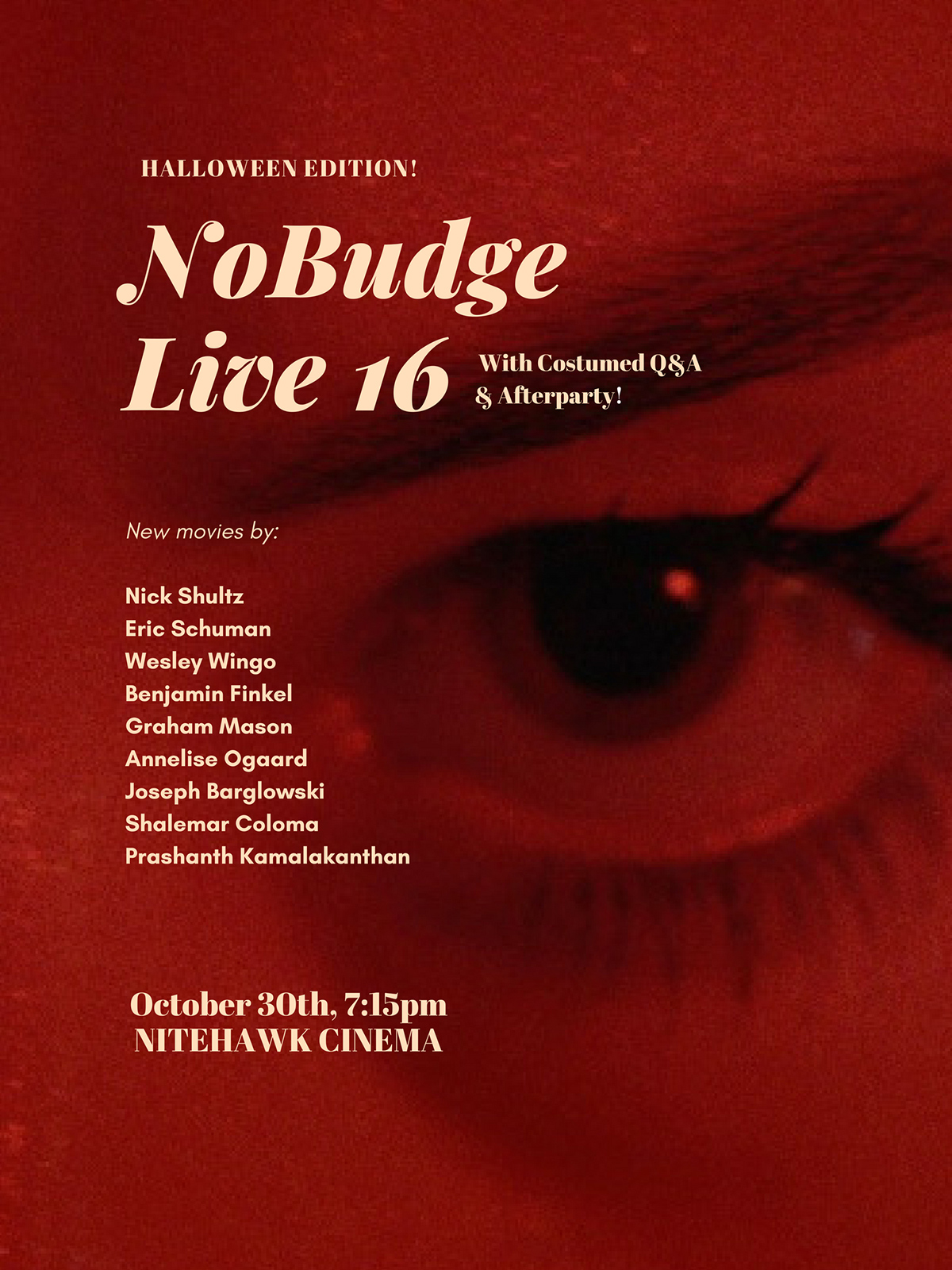 Poster for NoBudge Live #16: Halloween Edition