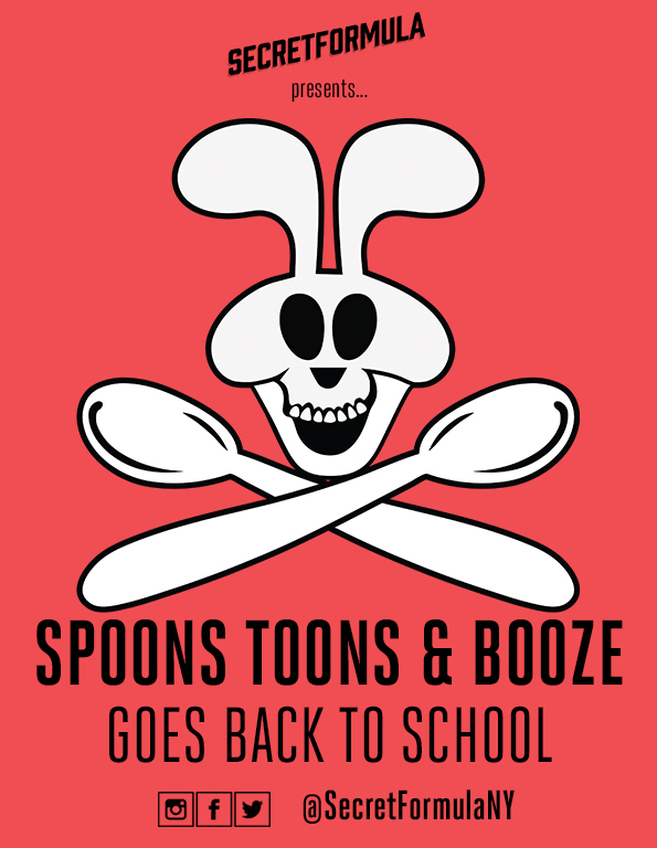 Poster for Spoons, Toons & Booze Goes Back to School (September)