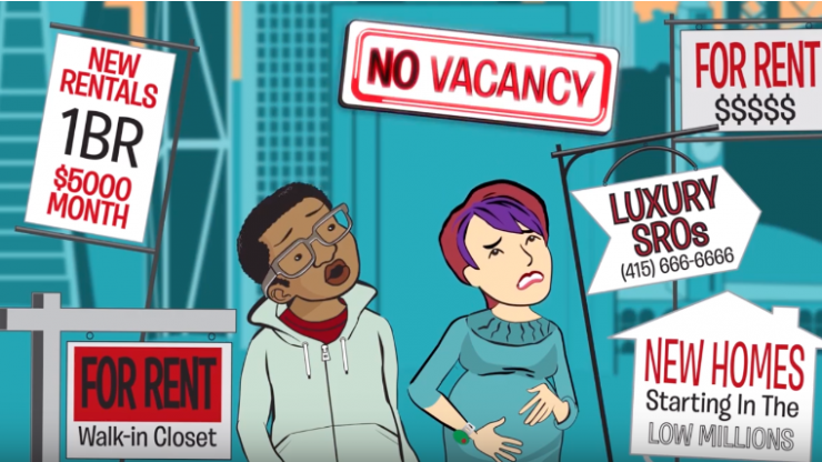 An illustration of two people surrounded by housing signs and looking distressed