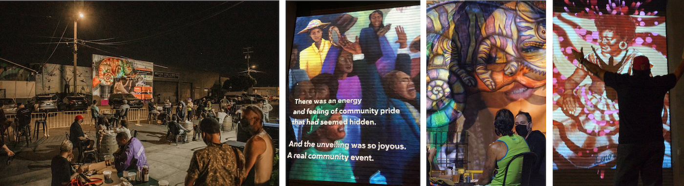 compilation of photos from City is Alive on Egbert avenue, featuring colorful projections of murals onto warehouse doors at night time