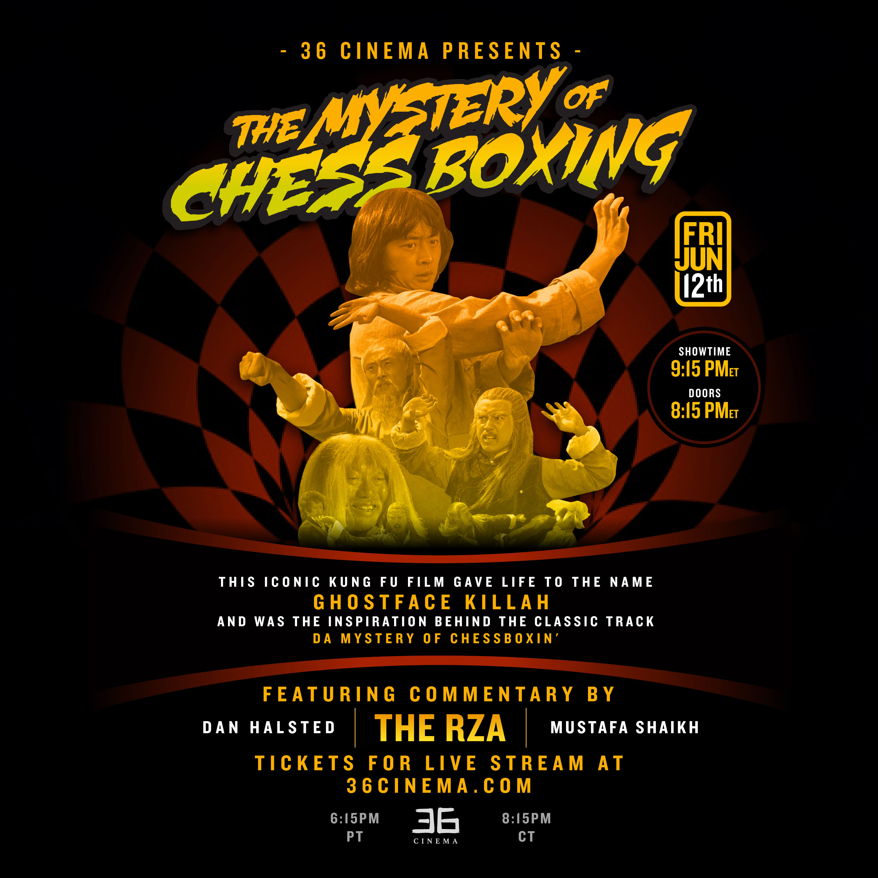 Poster for MYSTERY OF CHESSBOXING Livestream w/RZA!