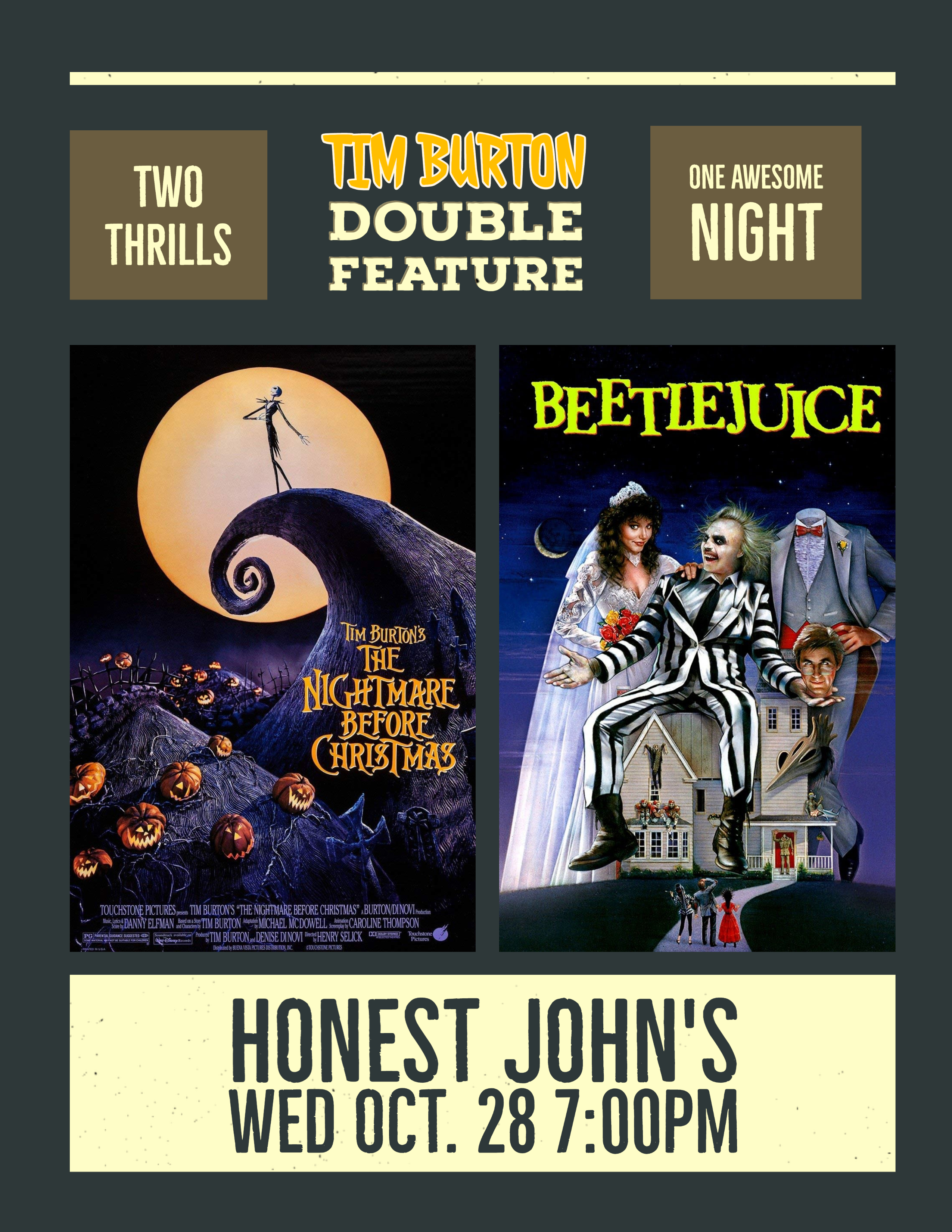 Poster for Tim Burton Double Feature at Honest John's