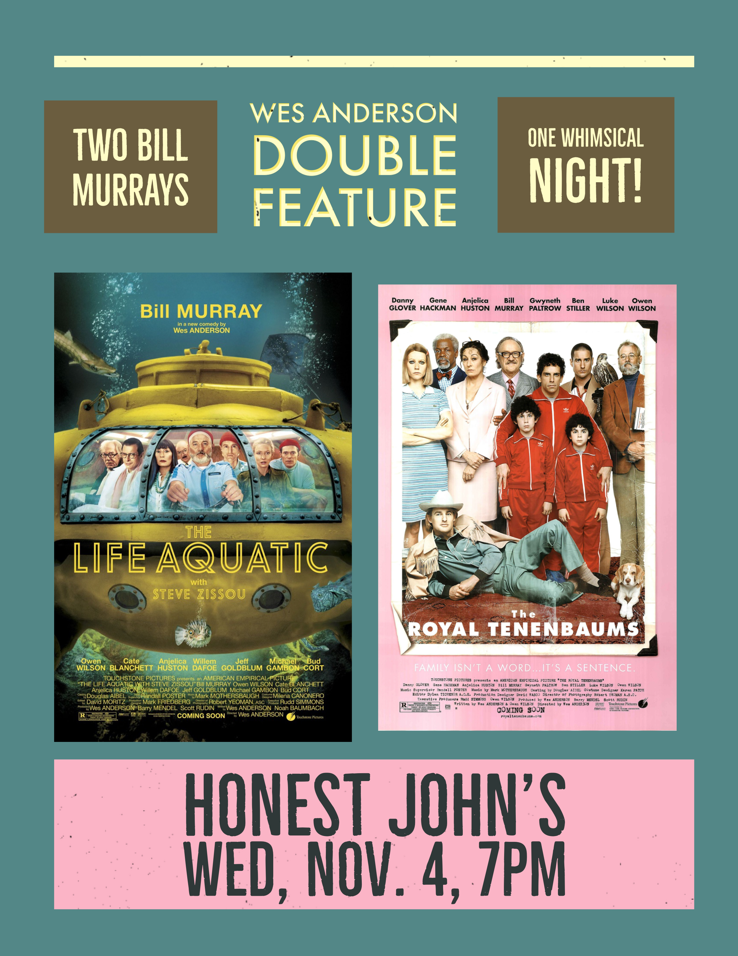 Poster for Wes Anderson Double Feature at Honest John's