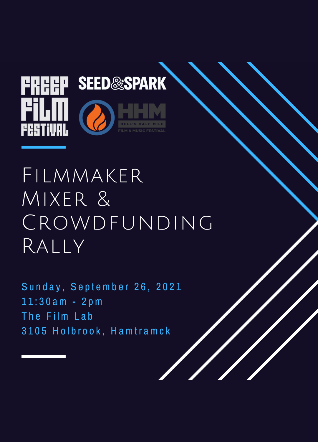 Poster for Freep Film Festival Filmmaker Mixer & Crowdfunding Rally