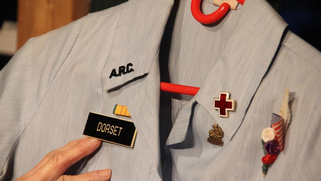 Close up of Donut Dollie Dorset's uniform