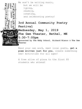 Poster for 3rd Annual Community Poetry Festival