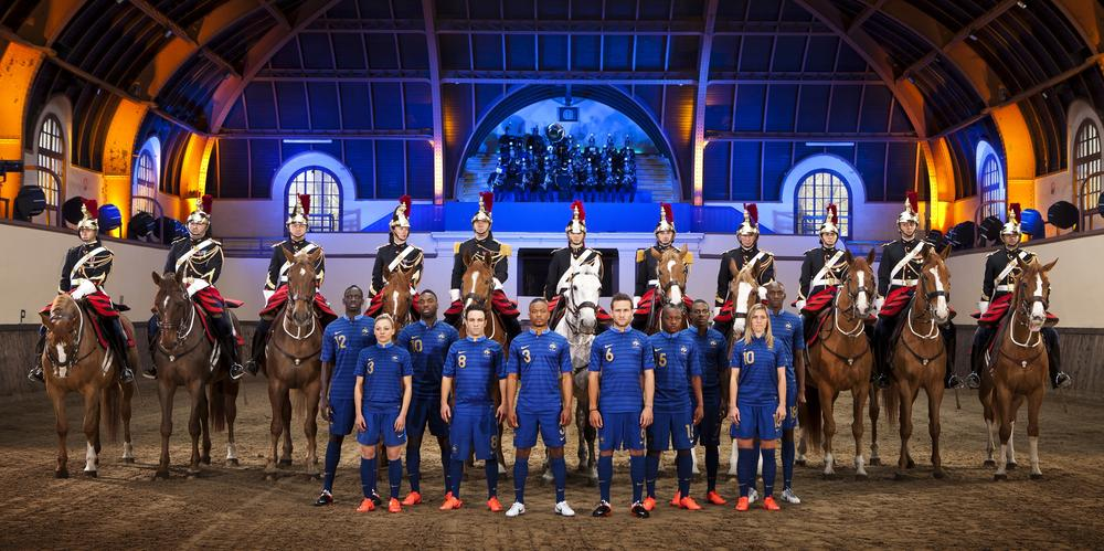 "French Football Kit Unveiled In Iconic ""Quartier Des Célestins"" Of the Republican Guard in Paris"