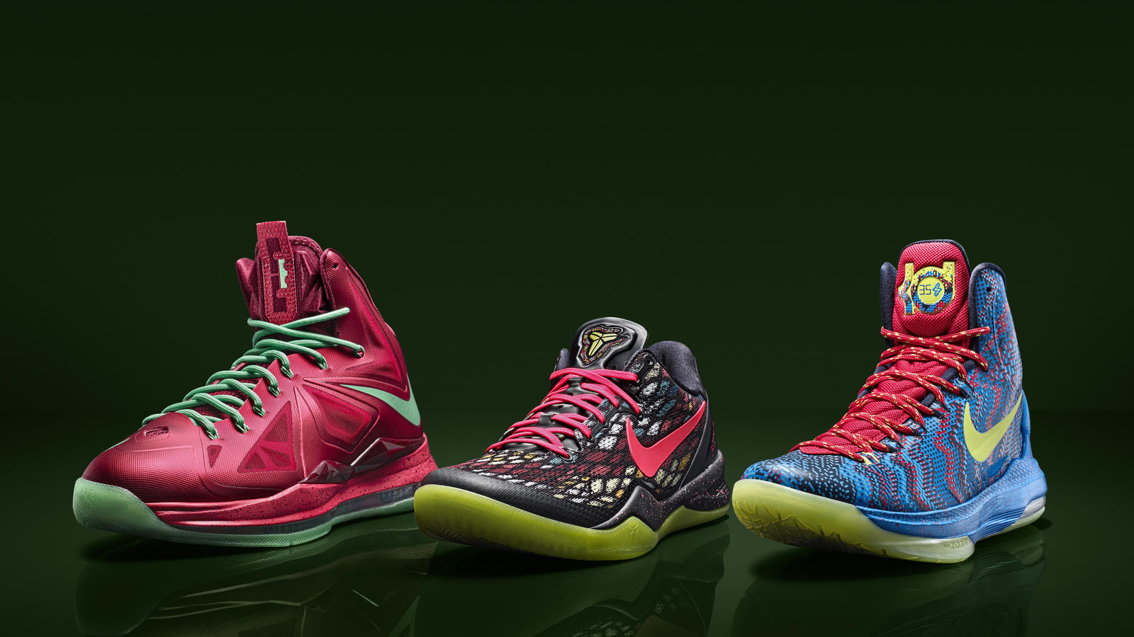 meet 2db83 6d272 Xmas colorway group shot. KOBE 8 SYSTEM Xmas colorway.  LEBRON X Xmas colorway