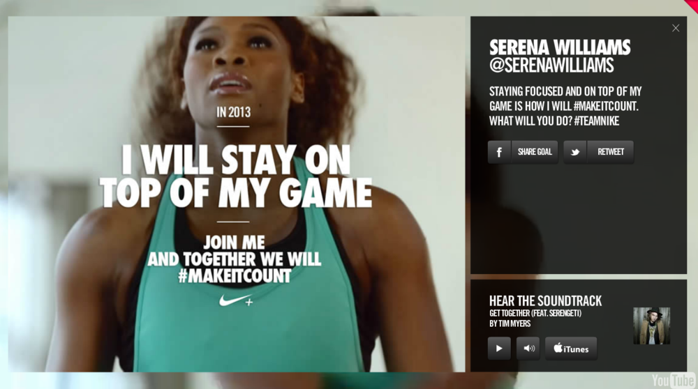 Nike+ interactive video helps viewers make it count